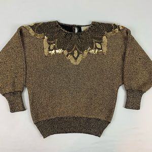 80's Throwback Gold Sequins Sweater.